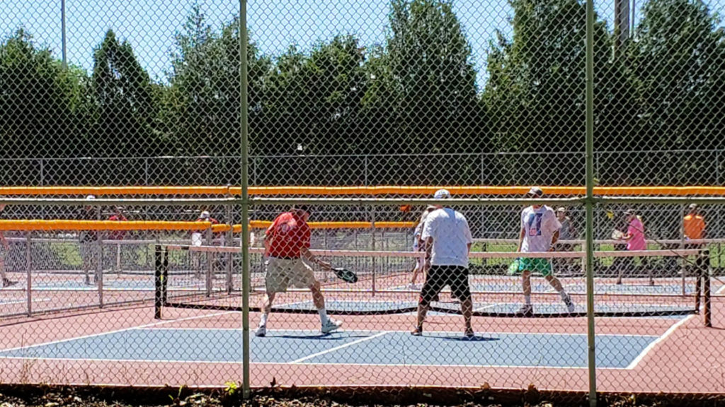 Pickleball players at Riverside Park