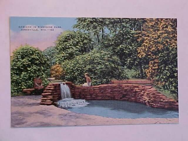 1950s postcard of the artesian well in Riverside Park, Janesville, Wisconsin